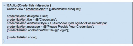 Figure 13 - Credentials Code