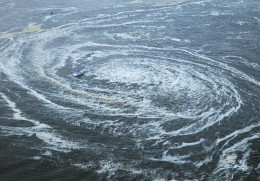 Whirlpools are created by seismic plates shifting beneath the Oceans and lake beds.