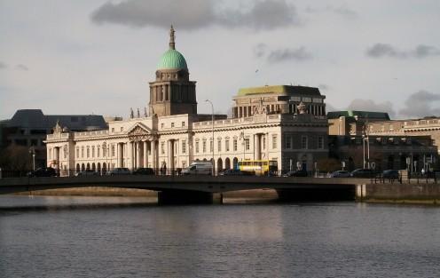 The Custom House and Matt Talbot Memorial Bridge from City Quay, Dublin