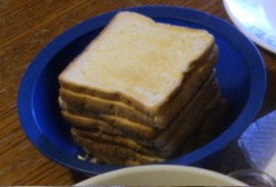I have a lot of people to cook for on Sunday Breakfast day. So I use a lot of toast.