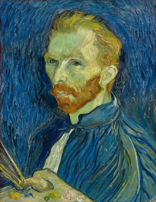 Self-portrait, oil on canvas, dated 1889, by Vincent van Gogh (1853 - 1890), courtesy of the National Gallery of Art, Washington.