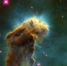 A nebula. Some, like this one, are molecular clouds where stars are born.