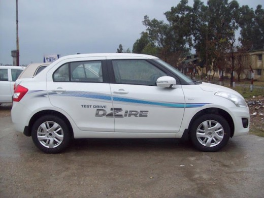 Swift Dzire Test Drive Vehicle - side view
