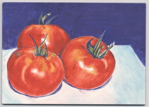 "Tomato Trio, 5 x 7""  (Watercolor)  This is a very simple, small painting.  I wanted very little detail - mostly just areas of color and light to define the subject."