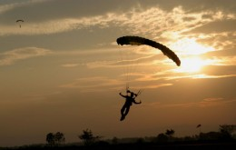 Sky diver coming down