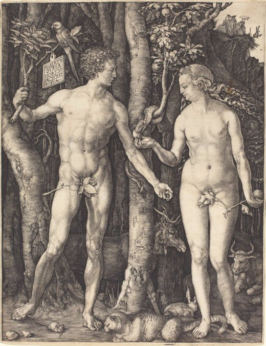 Adam and Eve, engraving dated 1504, by Albrecht Dürer (1471 - 1528), courtesy of the National Gallery of Art, Washington.