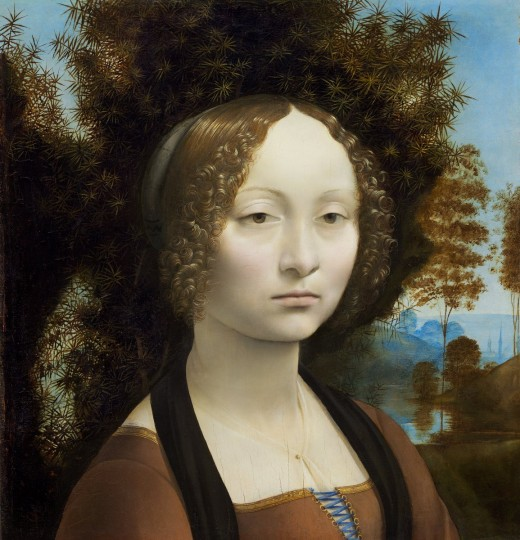 Ginevra de' Benci, dated 1474/1478, by Leonardo da Vinci (1452 - 1519), courtesy of the National Gallery of Art, Washington.