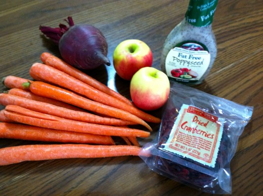 Ingredients: carrots, beet, apples, dressing, dried cranberries