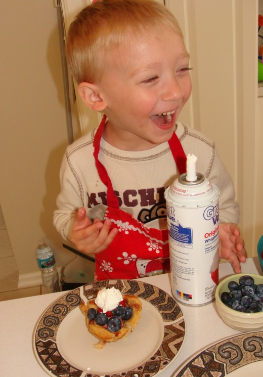 Believe me, that only will create great memories for your children!  Alex was thrilled that he put the whipped cream on himself!