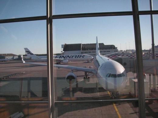 Two of Finnair's A330 aircraft at their hub in Helsinki-Vantaa airport