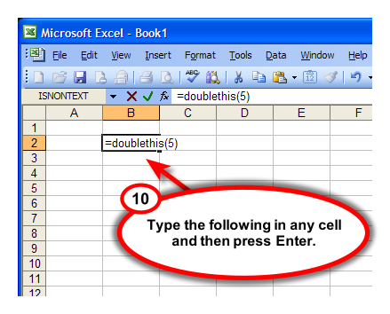 Figure 9. Enter user-defined function in a spreadsheet cell