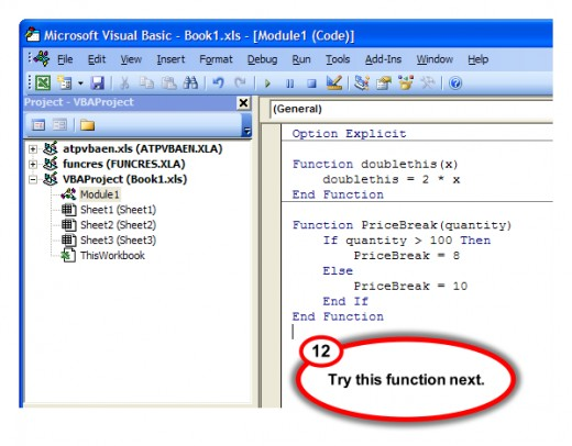 Figure 11. PriceBreak user-defined function