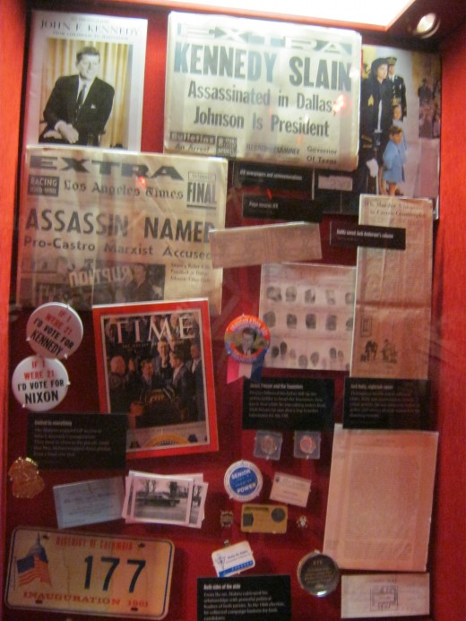 "An exhibit dedicated to the belief in a ""conspiracy theory"" in the killing of John F. Kennedy, that it somehow was a mob related killing."