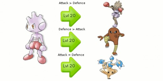 How Tyrogue evolves into Hitmonlee, Hitmonchan and Hitmontop