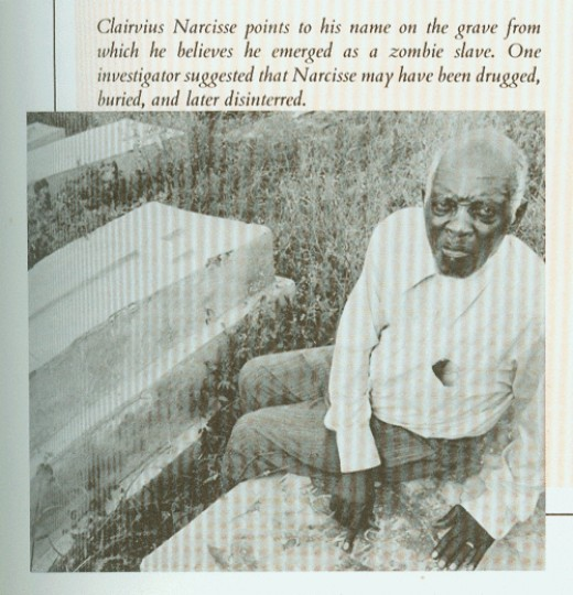 "Newspaper clipping of Clairvius Narcisse showing the grave from which he was taken to be made a ""Zombie"""