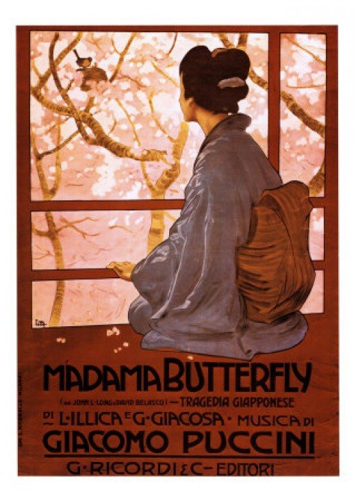 Poster for the Opera, Madame Butterfly (by Puccini). This opera is also known as Madama Butterfly.