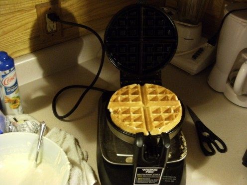 My Belgian Waffle Maker. Using the standard Bisquick recipe I get 4 waffles.