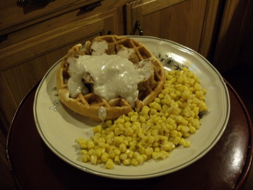 Gravied Chicken & Waffle with corn