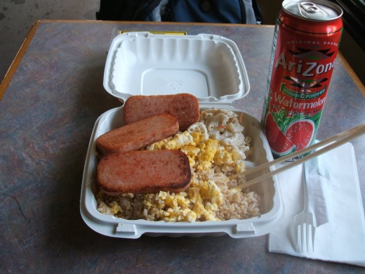 Spam, eggs, and rice at the Uwajimaya Food Court in Seattle, Washington