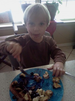 My youngest enjoys blueberries on top of whole wheat french toast, made with farm fresh eggs.  I added sliced bananas to the dish - not in the sauce, but on top of the toast.  Yum!