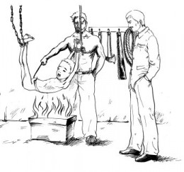 Drawing of how he was tortured in 1994