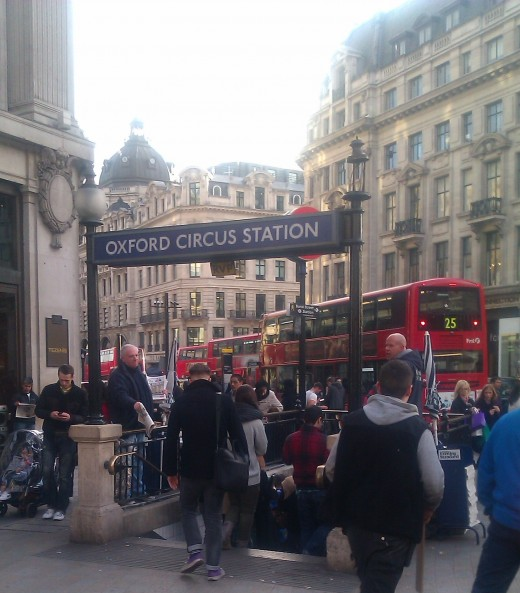 A very busy Oxford Circus station in Central London
