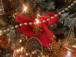 Silk Red Poinsettias on a Christmas Tree - Holiday Decorating Ideas
