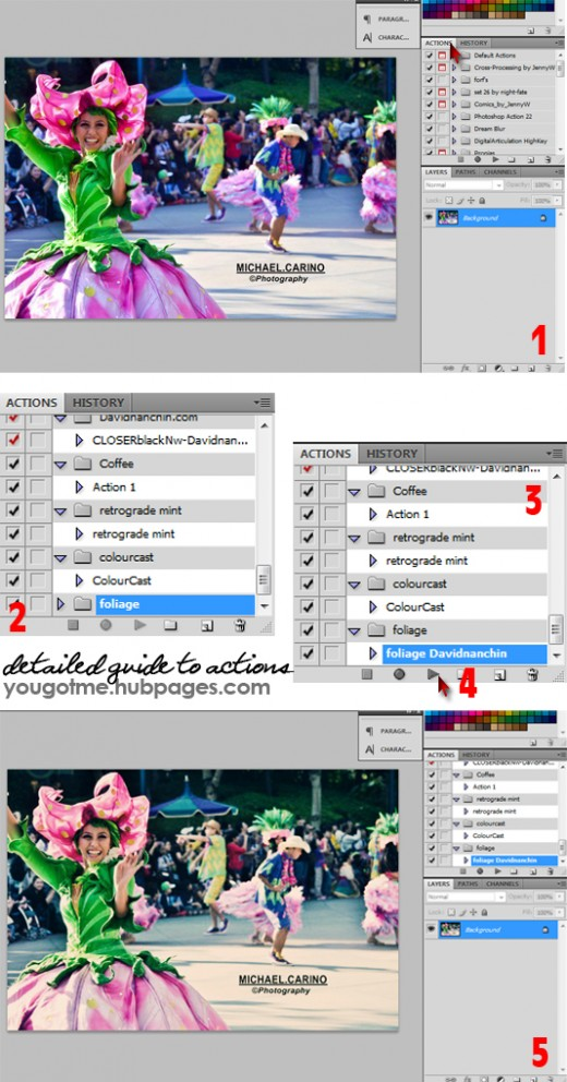Photo Instruction on How to Install, Use and Apply Photoshop Actions