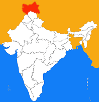 Kashmir highlighted on the Indian map