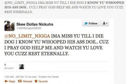 After his death, some friends sent messages to his Twitter account @ No Limit Nigga. This name was confirmed.