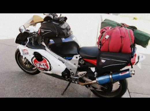 John's Suzuki TL-1000r tricked out for camping.