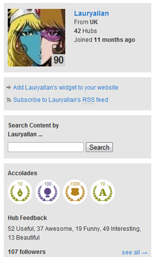 Snapshot of current Hubs written and 100,000 views accolade.
