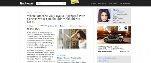 She wrote a awesome hub about what to do when someone you love gets diagnosed with cancer.