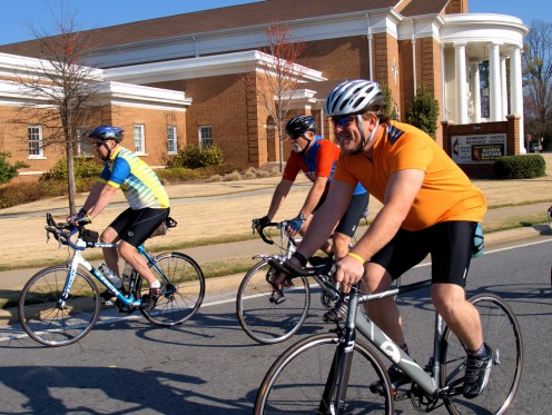 The sign of a leisurely non-professional group ride: Riders three abreast and large gaps of space between them. Bonus points if you can spot the additional roadie sins -- some of which are not listed in this article.