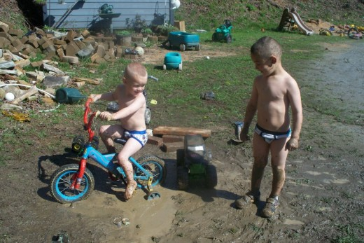 My grandsons got all muddy and removed their clothes hoping to go unnoticed by Grandma.