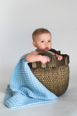 BASKET BABY by Beatricekillam Image of cute baby sitting in a woven basket lined with a blanket