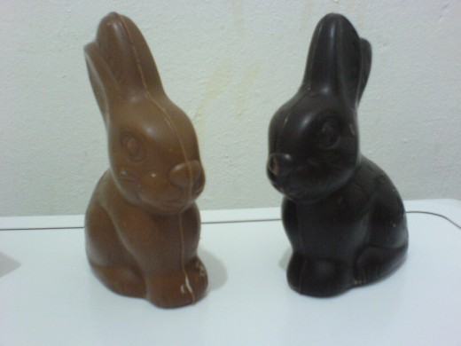 Milk Chocolate and Dark Chocolate Bunnies, the best of both worlds.