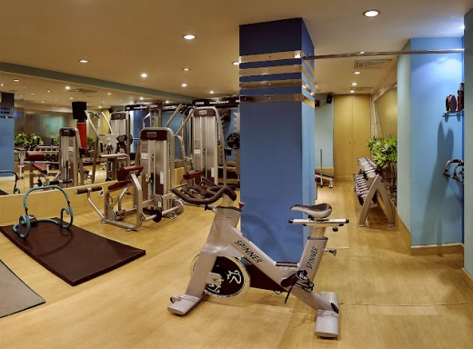 The gym inside Five Star Hotel Surya Continental in New Delhi.
