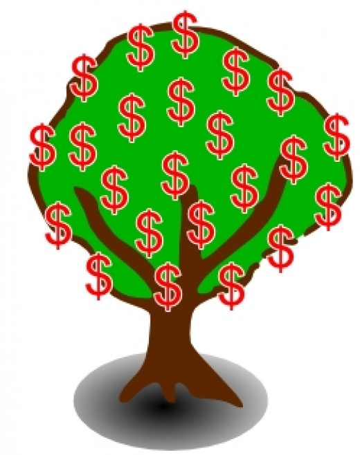 - Money Tree - image by Rosie2010 derived from clipart by OCAL from www.clker.com -