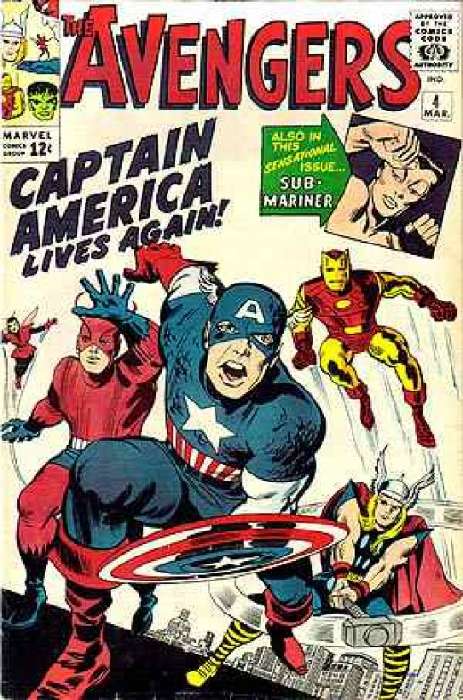 Captain America returns: Avengers #4 by Stan Lee and Jack Kirby.