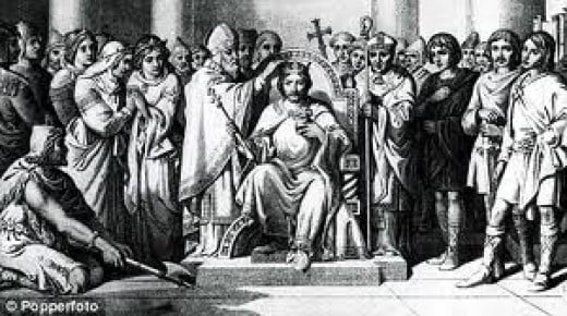 Harold's coronation from a Victorian etching - Stigand, Archbishop of Canterbury should have performed the rite. He had been refused his pallium by Pontiff Alexander as he still held Winchester, so Ealdred of York crowned the new king