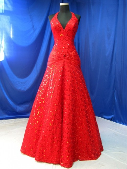 Red bridal gown, $649