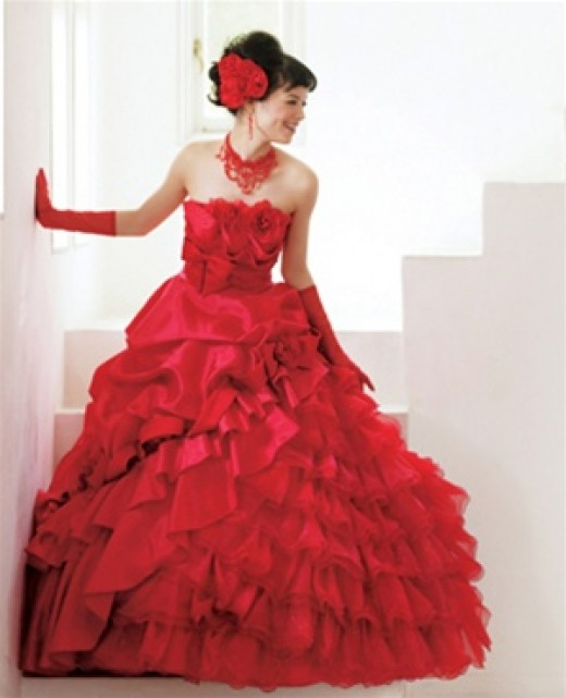 Red wedding gown $749. Alternative Wedding Dresses: Getting Married in Red.