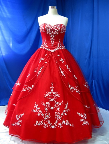 Red wedding dress, $649