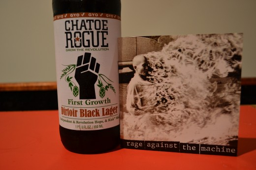 Dirtoir Black Lager and a little Rage Against the Machine.  A fine pairing!