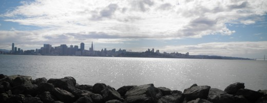 You can practically have a 360 degree view of San Francisco Bay from the Treasure Island shoreline.