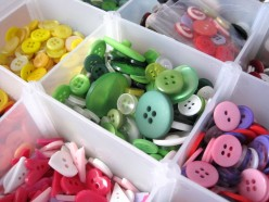 Keeping all of my buttons organized by color/color scheme (i.e. Christmas) makes it much easier to find what I want when I want it.