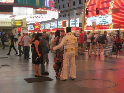 One of several Elvis's on Fremont Street in Las Vegas.
