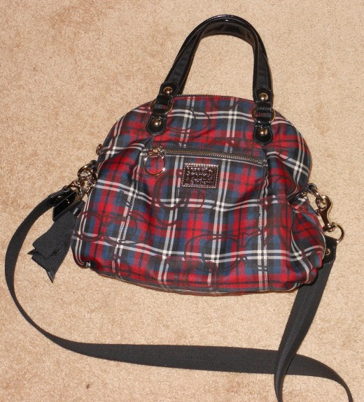 Coach poppy tartan handbag close up