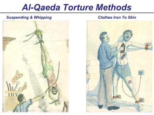 The Al Qaeda are also implicated in using torture. Here, one art rendition shows suspended torture as described in the main article. Another shows a hot iron burning the tortured victim. Check out the website as it depicts many methods described.